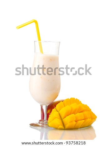Milk shake with mango isolated on white - stock photo