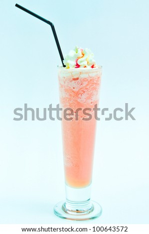 Milk shakes with fruits isolated on white and blue.
