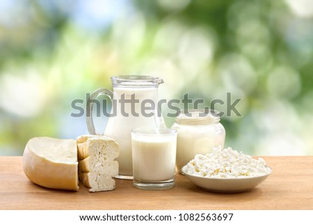 Milk, sour cream, cheese and cottage cheese on wooden table on defocused of natural background with space for text Foto stock ©
