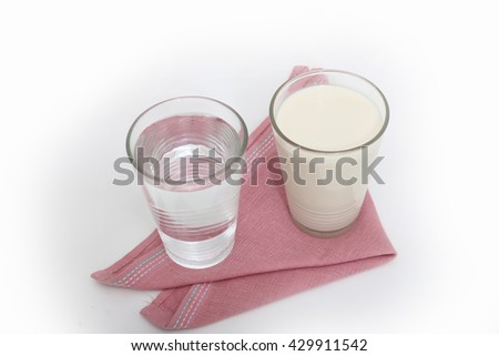 milk, soy milk and water #429911542