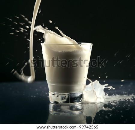 milk splash in glass isolated on black background