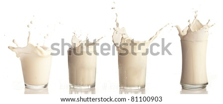 milk splash on a glass on white background