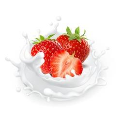 milk splash strawberry flavor fruit cream milkshake food drop