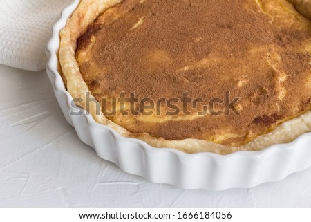 Milk tart - traditional South African custard cinnamon sprinkled tart - Horizontal photo