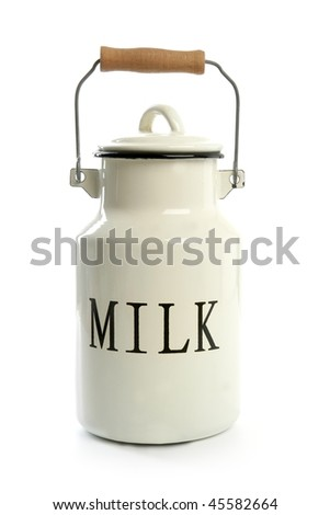 Milk urn white pot traditional farmer style isolated on white