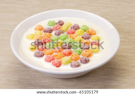 Milk with cereals balls crisp for breakfast
