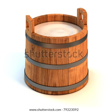 milk wooden bucket 3d illustration