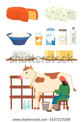 Milkmaid and dairy products set raster, isolated woman with cow, cottage cheese and milk in packages and bottles, productions for sale flat style