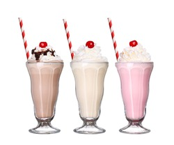 milkshakes chocolate flavor ice cream set collection with cherry on top isolated on white background