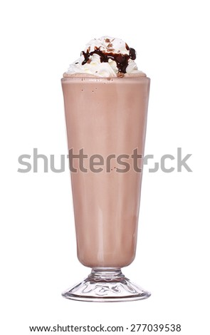 milkshakes chocolate flavor with syrup and whipped cream isolated on white background #277039538