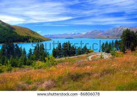 Milky Blue Lake Tekapo, South Island, New Zealand - stock photo