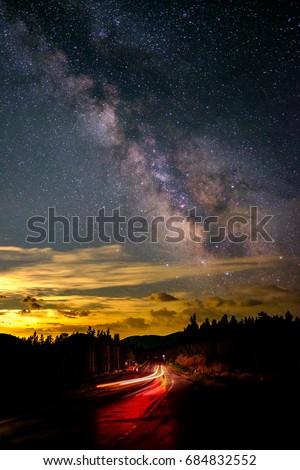 Milky Way above Colorado highway #684832552