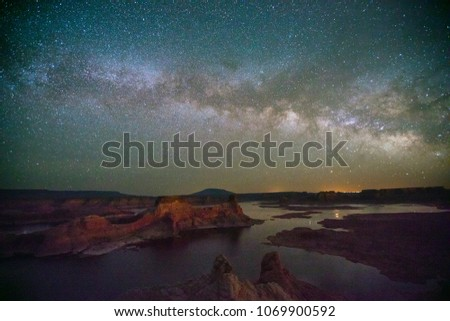 Milky Way above Lake Powell, Utah, USA. #1069900592