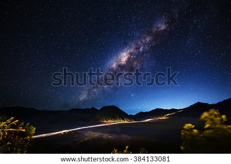 Milky way across Mt.Bromo,East Java,Indonesia #384133081