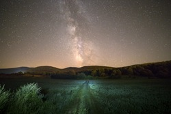 Milky way and green way in Croatia, Europe