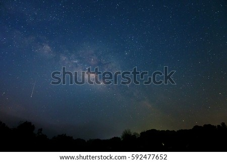 Milky Way and starry sky background that silhouette of tree. The Milky way is the way to Heaven Let's go there, just say your hope when the meteor passing