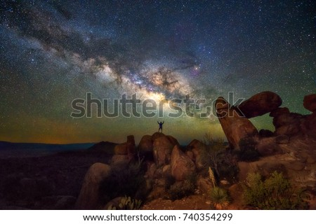 Milky way at Balanced Rock, Big Bend National park, Texas USA. Constellation and galaxy #740354299