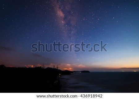 Milky Way at kudat Sabah Malaysia.Long exposure photograph.with grain, blur and soft focus.   #436918942
