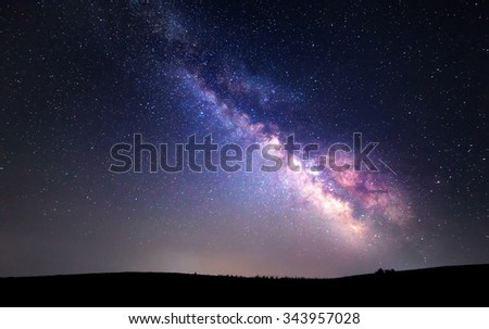 Milky Way. Beautiful summer night sky with stars. Background. #343957028