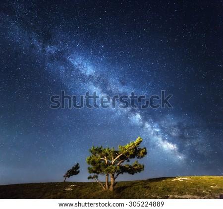 Milky Way. Beautiful summer night sky with stars in Crimea.