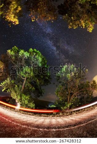 Milky Way. Beautiful summer night sky with stars, sea and rocks. Crimea mountains