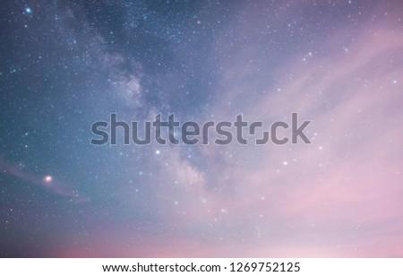 Milky way galaxy and blue sky. #1269752125