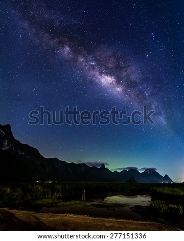 Milky Way Galaxy and Stars in Night Sky from Khao Sam Roi Yod National Park, Thailand #277151336