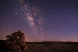 Milky way galaxy astrophotography with northern star and mars
