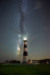Milky Way galaxy behind Bodie Island Lighthouse