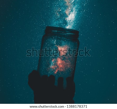 Milky way galaxy in glass jar
