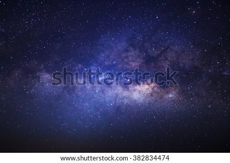 Milky Way galaxy, Long exposure photograph, with grain.