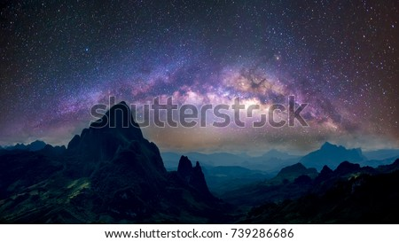 Milky Way galaxy on the mountain in Louangprabang LAOS.. Long exposure photograph, with grain.Image contain certain grain or noise and soft focus.
