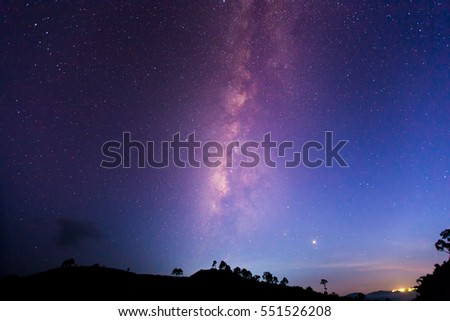 Milky way galaxy with stars and space dust in the universe. astronomy.