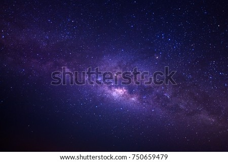 Photo of  Milky way galaxy with stars and space dust in the universe, Long exposure photograph, with grain.
