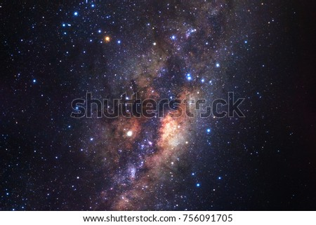 Milky way galaxy with stars and space dust in the universe, Long exposure photograph, with grain. #756091705