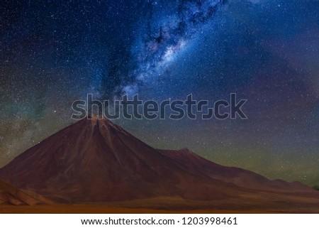 Milky way in  Licancabur volcano at Atacama Desert