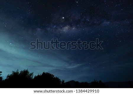Milky way in misty sky over bromo, indonesia #1384429910