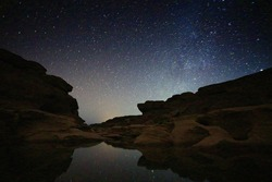 Milky way on grandcanyon of Thailand.