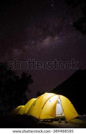 Milky way on Mount Rinjani