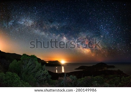 Stock Photo Milky way on over the Malfatano Cape