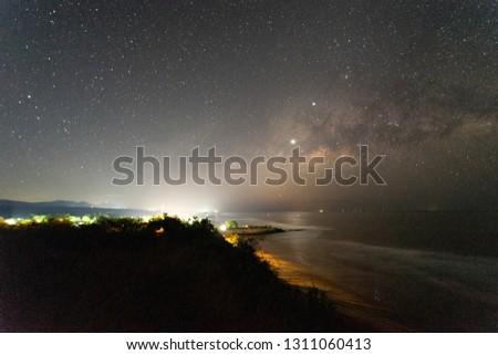 Milky Way on pacific ocean beach night #1311060413