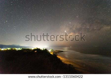 Milky Way on pacific ocean beach night #1311060422
