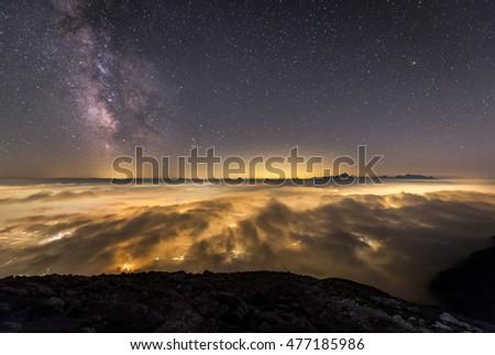 Milky Way over my hometown Jesenice and Triglav mountain #477185986
