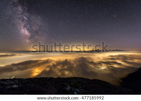 Milky Way over my hometown Jesenice and Triglav mountain #477185992