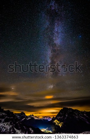 Milky way over the mountains of the dolomites #1363374863