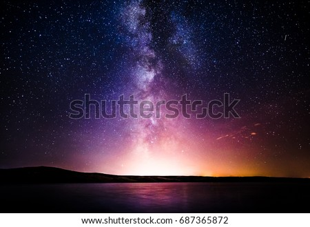 Milky Way over the sea #687365872