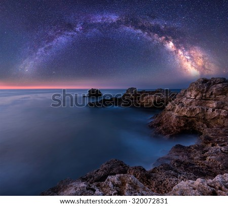 Milky Way over the sea. Long time exposure night landscape with Milky Way Galaxy above the Black sea