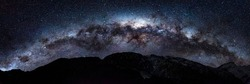 Milky Way Panorama High Res with mountains at Aoraki Mackenzie International Dark Sky Reserve