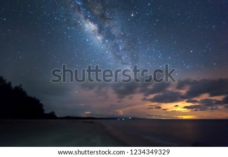 Milky Way rise above Kudat, Malaysia sky. soft focus and noise due to long expose and high iso. #1234349329