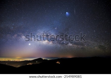 Milky Way, Rocket, Meteor, Venus, and Zodiacal Lights over Doi Inthanon National Park, Chiang Mai, Thailand.  The blurry blue